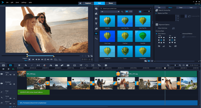 Image of Corel VideoStudio 2019 user interface.