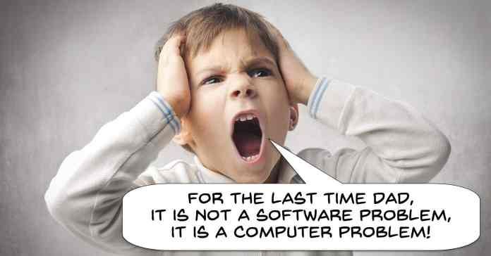 Angry boy yelling at father about software problems