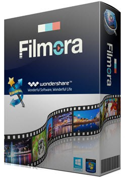 Wondershare Filmora box shot as the easiest to learn and use video editing software in 2018.