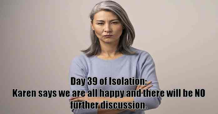 Humorous image of woman under stress in isolation.