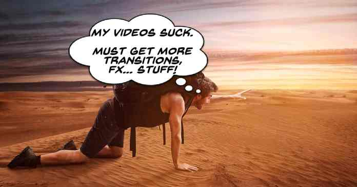 Humorous image of man in desert searching for more video transitions and effects.