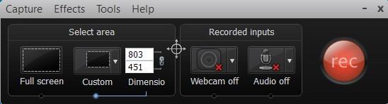 Camtasia Studio screen recording button and settings image.