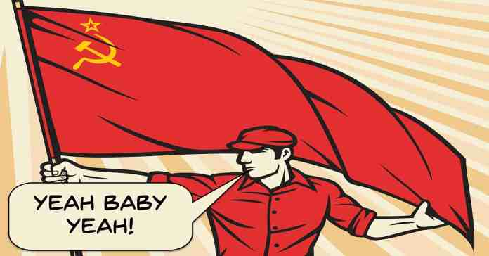 Image of retro soviet worker using Austin Powers catchphrase.