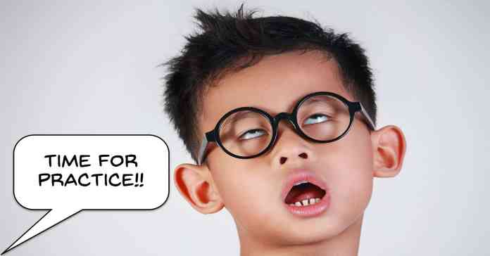 Humorous image of a boy pulling a face because of being told to practice.