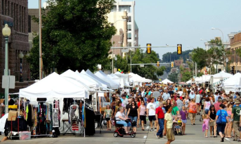 Festival booths in downtown Sioux Falls