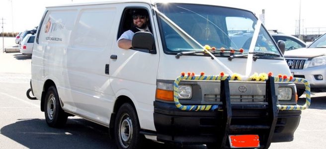wedding, van, Australia, beach, chauffeur | See more at www.diywoman.net