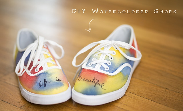 DIY Watercolored Canvas Shoes