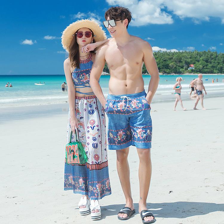 泳裝 泳衣 情侶款波希米亞風削肩露背綁帶長裙三件式泳裝(二色) - 韓式作風