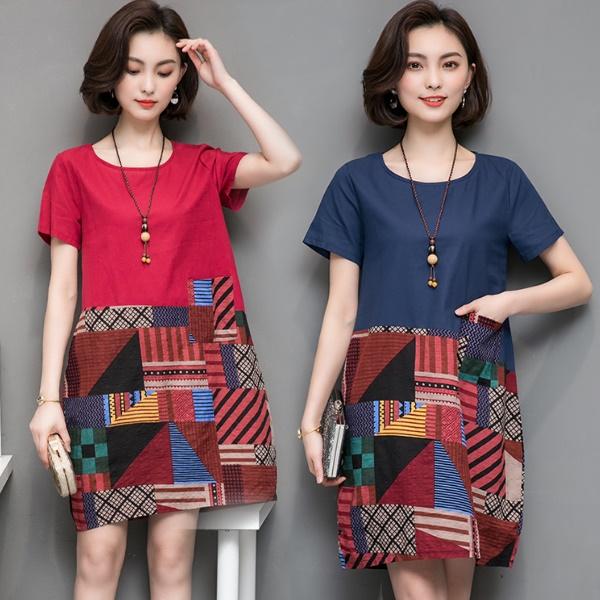 [現貨]L-5XL實拍韓版寬鬆大碼顯瘦復古印花連身裙民族風拼接短袖洋裝(3色)中大碼女裝-凱西娃娃 - 凱西娃娃Cathy doll
