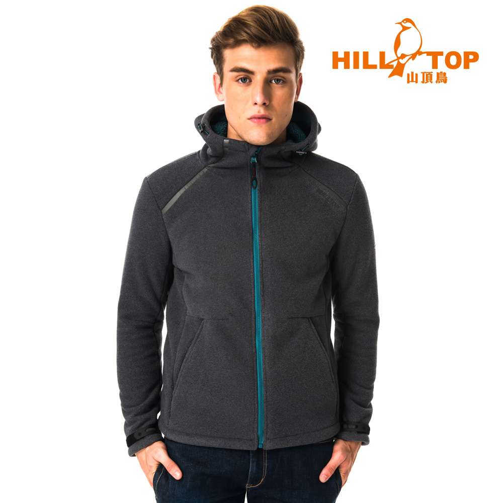 【hilltop山頂鳥】男款防風透氣保暖連帽刷毛外套H22MX2無煙煤 - Hilltop 山頂鳥
