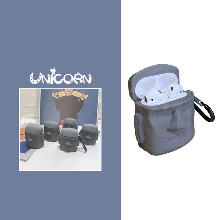 神秘摩艾石像 蘋果AirPods專用耳機盒保護套 收納套 Unicorn手機殼 - Unicorn 手機殼-日系雜貨