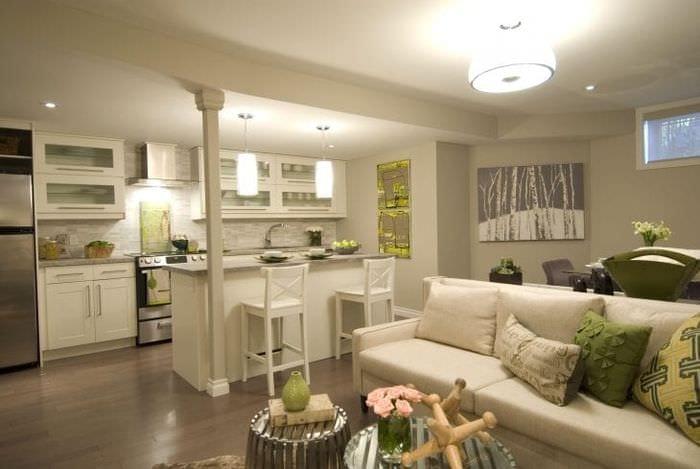 Foto di design della sala da pranzo-soggiorno. Cucina-sala ...