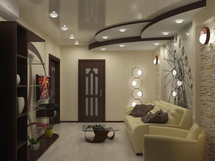 потолок в зале дизайн фото 2