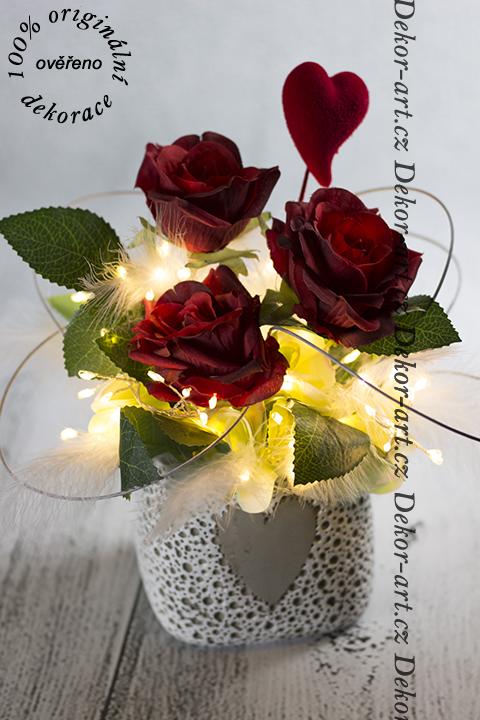 Valentínsky darček ruže s LED osvetlením.
