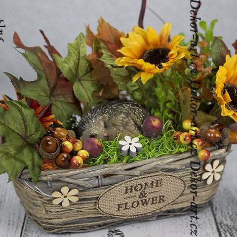Moderný dekoračný doplnok s prírodnými farbami jesene do zimnej záhrady, predsiene či zádverie.