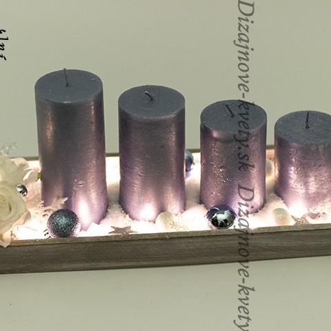 Luxusný adventný svietnik s patinou a veľkými metalickými sviečkami