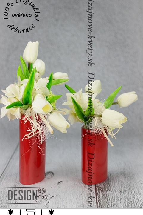 Dizajnový červený set s bielymi tulipánmi