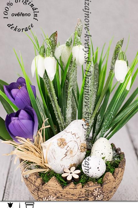 Jarné kvety snežienky s vajíčkami v dekoráciu na stôl