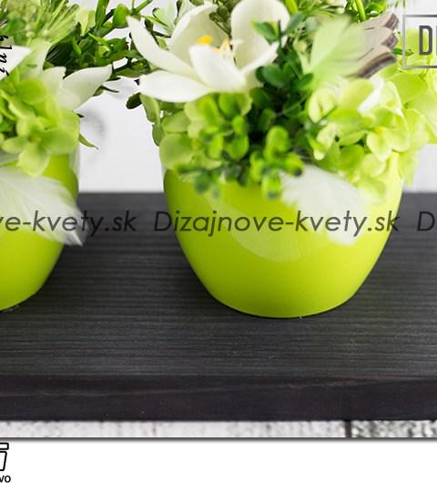 Moderná luxusná dekorácie šedá so zelenou