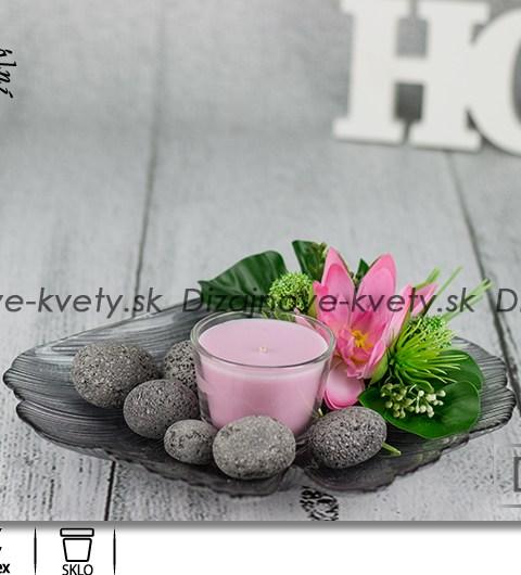 Svietnik v tvare listov Ginkgo biloba s ružovým leknom