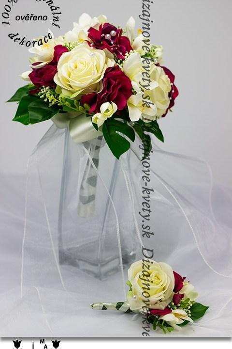Svadobná kytica pre nevestu s ružami a fréziami