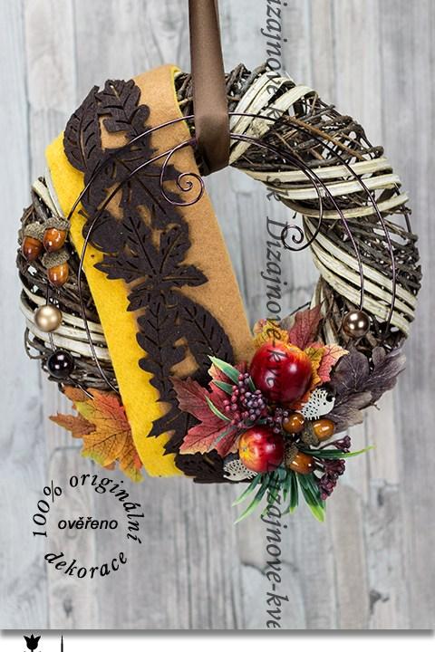 jesenné, veniec, jablko, farebný, dizajnový