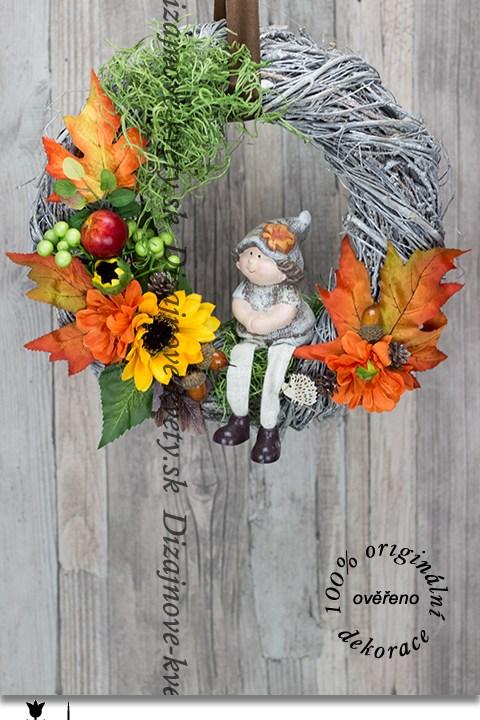 jesenné výzdoba, bytová dekorácie, jesenné vence, škriatok