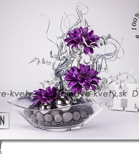 fialové gerbery, dizajnové sklo, lávové kamene, dizajnová dekorácie, relaxácia