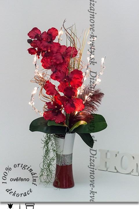 dizajnová kvetina, dizajnová váza, bytové aranžmá, orchidea, ľad osvetlenie