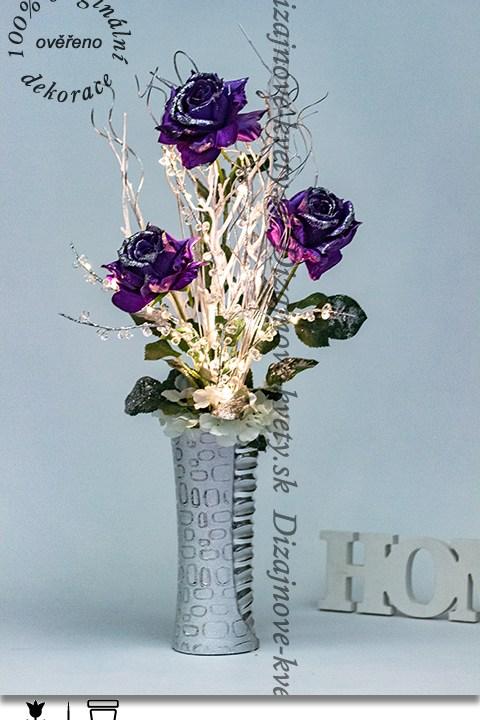 dizajnová kvetina, dizajnová váza, vianočné ruže, fialovej ruže