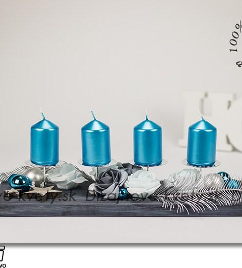 adventný svietnik, vianočné dekorácie, dizajnová dekorácie, dekorácie na stôl, tyrkysové sviečky