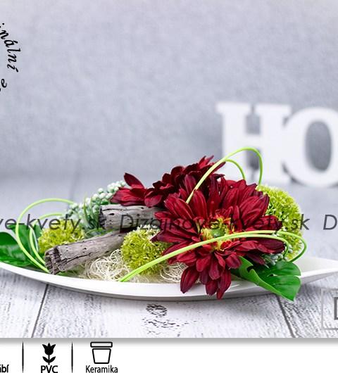dekorácie na stôl, bytová dekorácie, červené gerbery, ikebana
