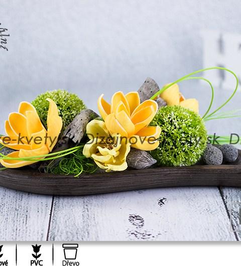 balsové drevo, žlté magnólie, kvetinová ikebana, dekorácie na stôl