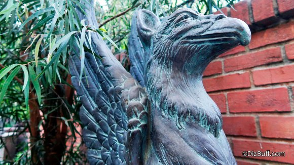 Closeup of a Griffin or Gargoyle at Disneyland Haunted Mansion New Orleans Square