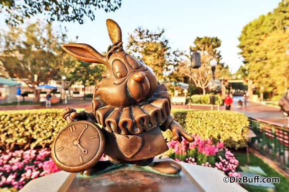 Little White Rabbit statue near Disneyland Partners Statue in Central Hub or Central Plaza or Castle Hub