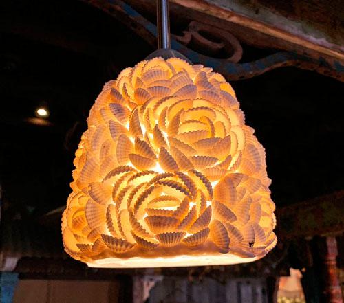 Sea Shell light fixture in Bengal BBQ eating area in Adventureland Disneyland