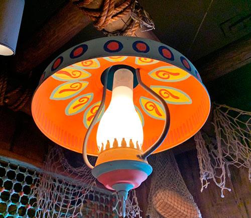 Lantern style light fixture in Bengal BBQ eating area Adventureland Disneyland