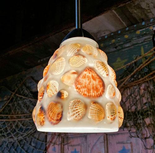 Sea Shell beach light fixture in Bengal BBQ Eating Area in Adventureland Disneyland