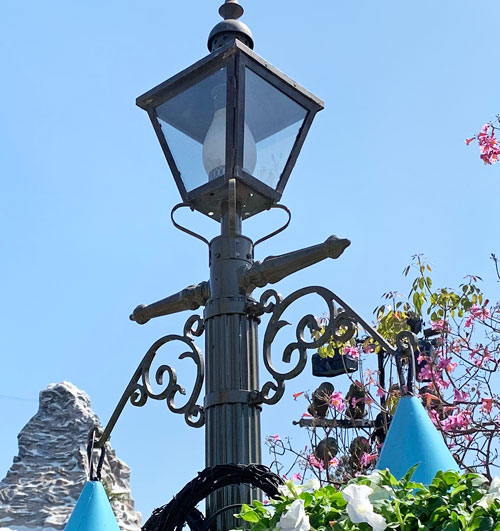 Close up of light fixture in Castle Hub or Central Plaza in Disneyland