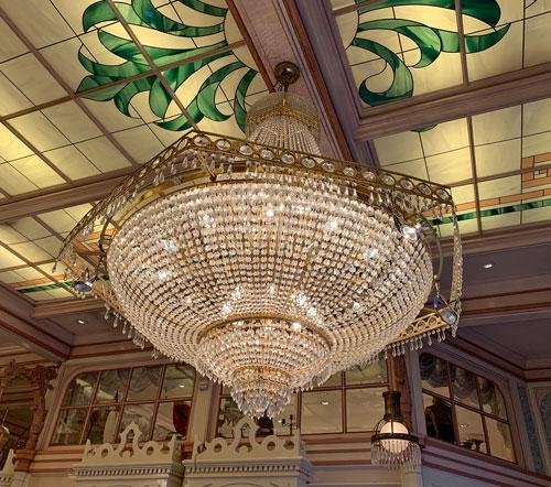 Close up of crystal chandelier in Crystal Arcade Main Street USA Disneyland
