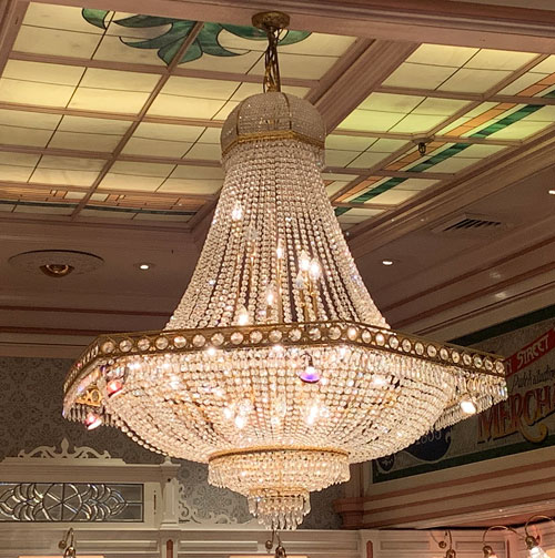 Close up of large crystal chandelier in Crystal Arcade Main Street USA Disneyland