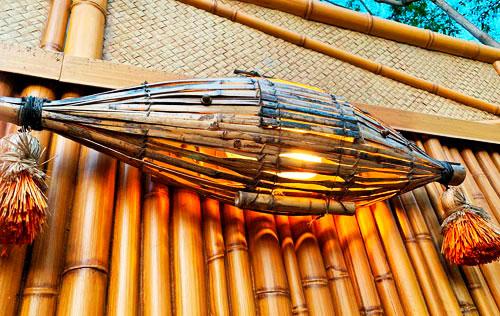 Wicker beach float light fixture at Enchanted Tiki Room in Adventureland Disneyland