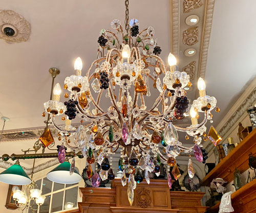 Multicolored glass chandelier in Fortuosity Shop on Main Street USA in Disneyland