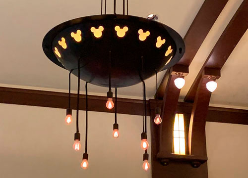 Ceiling light fixture in Hearthstone Lounge at Disney's Grand Californian Hotel with hidden mickeys