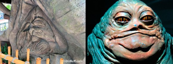 Jabba the Hutt likeness carved into the base of the Tarzan Tree house in Disneyland compared against the real Jabba The Hutt