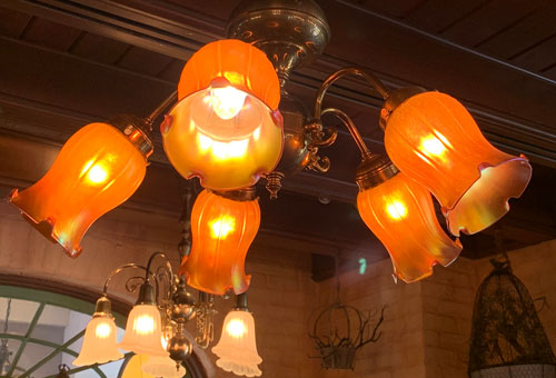Flower like light fixture in Le Bat en Rouge Shop in New Orleans Square Disneyland