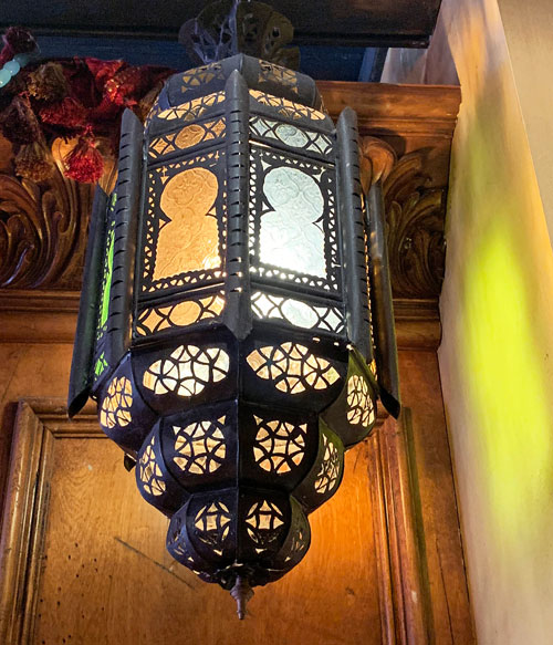 Exotic metal light fixture in Pieces of Eight Shop in New Orleans Square Disneyland