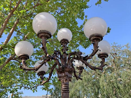 Close up of outdoor light fixture or lamppost at Plaza Inn Restaurant Disneyland