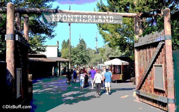 Entrance to Frontierland in Disneyland CA constructed of authentic Ponderosa Pine logs