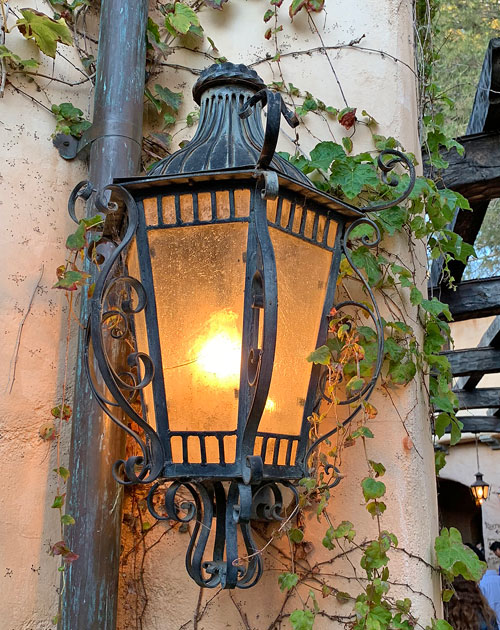 Wall mounted light fixture at Rancho del Zocalo Restaurant in Disneyland Frontierland